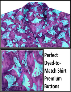 la-leela-womens-beach-wear-button-down-short-sleeve-casual-100-cotton-leaf-floral-hand-printed-blouse-purple-turquoise