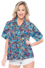 Load image into Gallery viewer, la-leela-womens-beach-wear-button-down-short-sleeve-casual-blouse-hand-printed-blue
