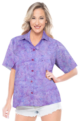 la-leela-womens-beach-wear-button-down-short-sleeve-casual-100-cotton-hand-printed-blouse-purple
