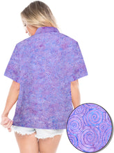 Load image into Gallery viewer, la-leela-womens-beach-wear-button-down-short-sleeve-casual-100-cotton-hand-printed-blouse-purple