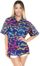 Load image into Gallery viewer, la-leela-womens-beach-wear-button-down-short-sleeve-casual-blouse-fly-hand-printed-blue-pink-yellow