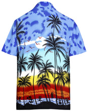 Load image into Gallery viewer, la-leela-regular-size-beach-hawaiian-shirt-for-aloha-tropical-beach-front-pocket-short-sleeve-for-mens-blue