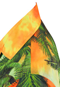 LA LEELA Men Casual Beach wear hawaiian Shirt Aloha Tropical Beach front Pocket Short sleeve Orange