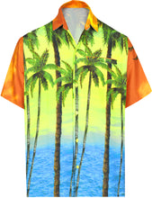 Load image into Gallery viewer, LA LEELA Men Casual Beach wear hawaiian Shirt Aloha Tropical Beach front Pocket Short sleeve Orange