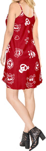 LA LEELA Women's Beach Dress Summer Swing Dress Halloween Costume Pairates printed Blood Red_Y899