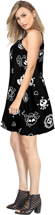 LA LEELA Women's Beach Dress Summer Swing Dress Halloween Costume Pairates printed Halloween Black_Y898