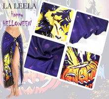 Load image into Gallery viewer, LA LEELA Rayon Women's Beach Wrap Sarong Cover Ups Swimsuit Tie Skirt Scary Halloween Navy Blue_Y893