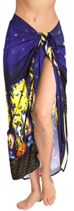 LA LEELA Rayon Women's Beach Wrap Sarong Cover Ups Swimsuit Tie Skirt Scary Halloween Navy Blue_Y893