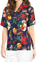 Load image into Gallery viewer, LA-LEELA-Women-Witch-Pumpkin-Scary-Hawaiian-Shirt-Halloween-Costume-Skull-Shirt-Navy Blue_AA237