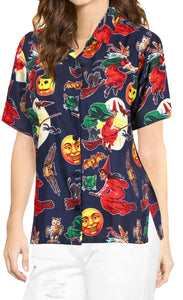 LA-LEELA-Women-Witch-Pumpkin-Scary-Hawaiian-Shirt-Halloween-Costume-Skull-Shirt-Navy Blue_AA237