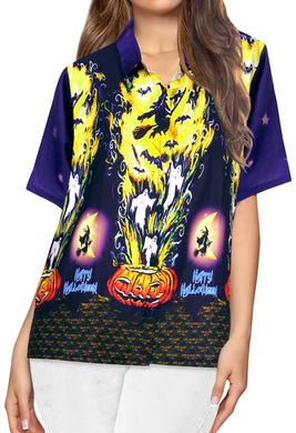 LA-LEELA-Women-Witch-Pumpkin-Scary-Hawaiian-Shirt-Halloween-Costume-Skull-Shirt-Navy Blue_AA236