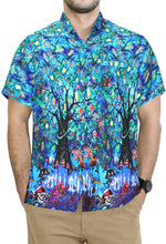Load image into Gallery viewer, LA-LEELA-Men's-Camp-Hawaiian-Scary-Halloween-Party-Costume-Pumpkin-Witch-Shirt-Royal Blue_AA239