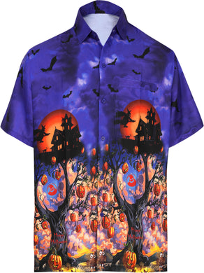 LA-LEELA-Men's-Camp-Hawaiian-Scary-Halloween-Party-Costume-Pumpkin-Witch-Shirt-Royal Blue_AA238