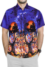 Load image into Gallery viewer, LA-LEELA-Men's-Camp-Hawaiian-Scary-Halloween-Party-Costume-Pumpkin-Witch-Shirt-Royal Blue_AA238