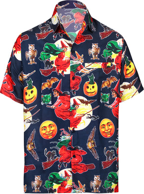 LA-LEELA-Men's-Camp-Hawaiian-Scary-Halloween-Party-Costume-Pumpkin-Witch-Shirt-Navy Blue_AA242