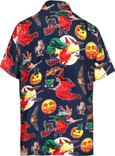 Load image into Gallery viewer, LA-LEELA-Men's-Camp-Hawaiian-Scary-Halloween-Party-Costume-Pumpkin-Witch-Shirt-Navy Blue_AA242