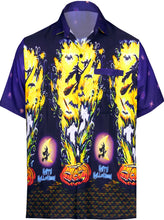 Load image into Gallery viewer, LA-LEELA-Men's-Camp-Hawaiian-Scary-Halloween-Party-Costume-Pumpkin-Witch-Shirt-Navy Blue_AA243