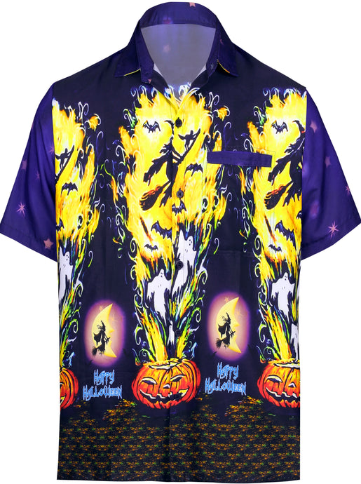 LA-LEELA-Men's-Camp-Hawaiian-Scary-Halloween-Party-Costume-Pumpkin-Witch-Shirt-Navy Blue_AA243