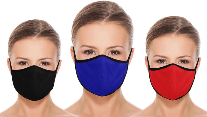Pack of 3 AMERICAN SMALL BUSINESS LA LEELA Solid Unisex  Reusable Washable Face Mask Breathable Lightweight Face Shield Dust Mouth Black_Blue_Red_1