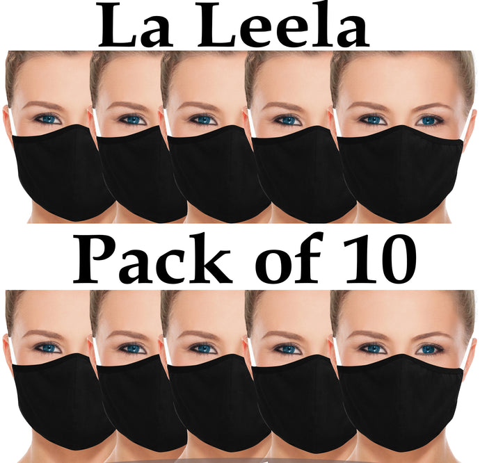 Pack of 10 AMERICAN SMALL BUSINESS LA LEELA Plain Face Cover Cotton Mouth Anti Dust Mask Reusable Washable Man Woman Unisex Black_V830 914175