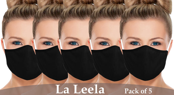 Pack of 5 AMERICAN SMALL BUSINESS LA LEELA Plain Unisex Reusable Washable Face Mask Outdoor Anti-Haze Face Durable Breathable Lightweight Mouth Black_V835 914180