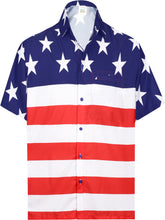 Load image into Gallery viewer, la-leela-mens-holiday-american-us-flag-button-down-short-sleeve-hawaiian-camp-shirt-red_aa285