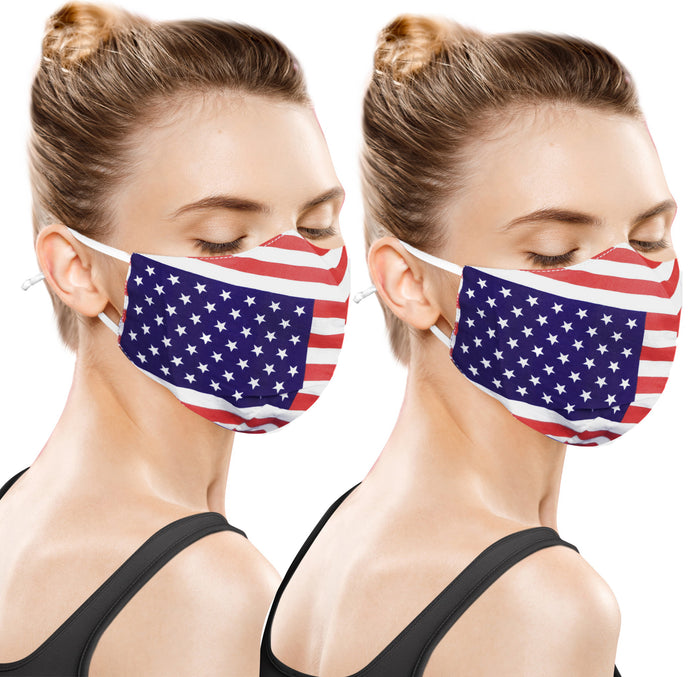Pack of 2 American Flag Print Unisex 100% Cotton Cotton Mouth Anti Dust Mask Reusable Washable Man Woman Unisex MaskRed_V940 914402