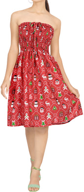 LA LEELA Women's Christmas Halter Neck Sundress Strapless Dress L-XL Red