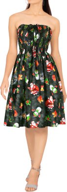 LA LEELA Women's Christmas Casual Tube Halter Neck Beach Dress L-XL Black