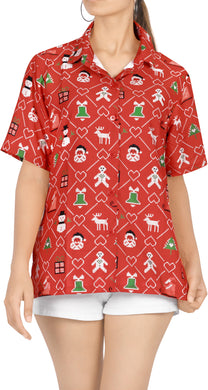 LA LEELA Women's Tropical Santa Claus Party Ugly Hawaiian Christmas Day Shirts RED