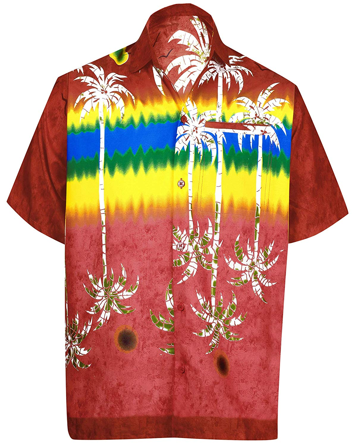 HTOOHTOOH Mens Aloha Hawaiian Shirt Button Down Casual Short Sleeve Shirt