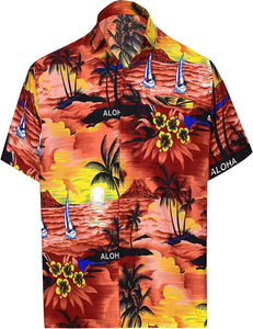 LA LEELA Shirt Casual Button Down Short Sleeve Beach Shirt Men Aloha Pocket 173
