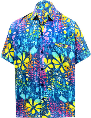 LA LEELA Shirt Casual Button Down Short Sleeve Beach Floral Printed Shirt Men Pocket HD Blue