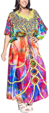 LA LEELA Women's Plus Size HD Designer Drawstring Caftan Dress Fits L-4X