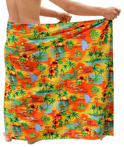 Beach Wear Mens Sarong Pareo Wrap Cover ups Bathing Suit Bamboo Towel Swimwear
