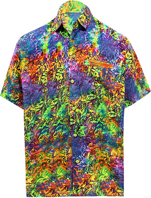 LA LEELA Shirt Casual Button Down Short Sleeve Beach Shirt Men Pocket HD 226 Multicolor