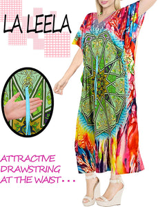 LA LEELA Digital Women's Kaftan Kimono Nightgown Beachwear Cover up Dress