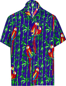 LA LEELA Shirt Casual Button Down Short Sleeve Beach Shirt Men Aloha Pocket 165