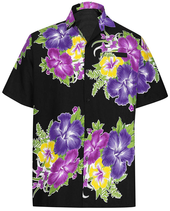 LA LEELA Shirt Casual Button Down Short Sleeve Beach Shirt Men Aloha Pocket 155