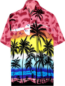 LA LEELA Hawaiian Shirt for Men Short Sleeve Front-Pocket Beach Palm Tree Blue