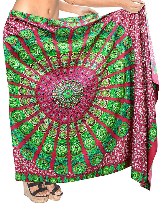la-leela-womens-sarong-beach-swimsuit-bikini-cover-up-wrap-pareo-peacock