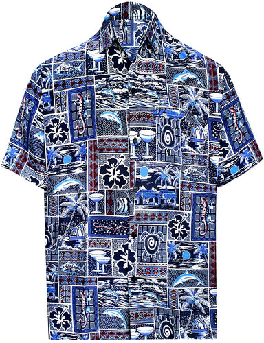 Men's Relaxed Fit Aloha Hawaiian Short Sleeves Button Down Tropcial Floral Shirt
