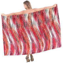 "Load image into Gallery viewer, LA LEELA Cotton Swimwear Towel Women Wrap Sarong Printed 72""X42"" Black_1925"