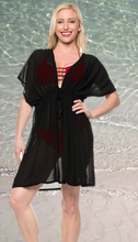 Load image into Gallery viewer, LA LEELA Bikni Swimwear Chiffon Solid Loose Blouse Cover Up OSFM 14-24 [L-3X] Black_865