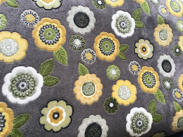 Grey Flowers Dog Blanket