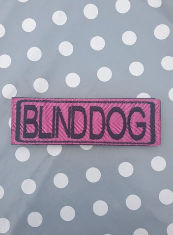 "Embroidered Velcro Harness Patch ""Blind Dog"""