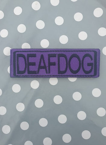 "Embroidered Velcro Harness Patch ""Deaf Dog"""