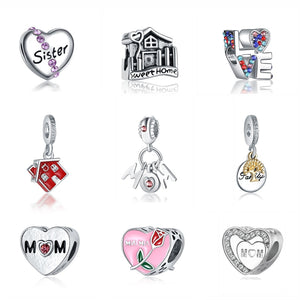 e25c7a5d2 Silver Bead Charm Original Fit Pandora Bracelet Love Family Mother Beads  For Jewelry Making Heart Charms Women DIY Gift