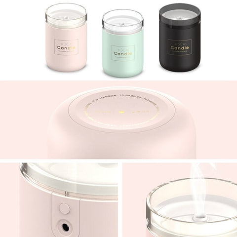 Candle Light Ultrasonic Essential Oil Air Humidifier (280ml Capacity, 3 Colours)