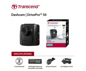 Transcend DrivePro 50 Non-LCD with 16G & Suction Mount